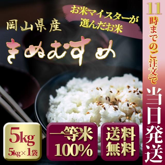お米 安い 29年度岡山県産 特A米 きぬむすめ 5kg ...
