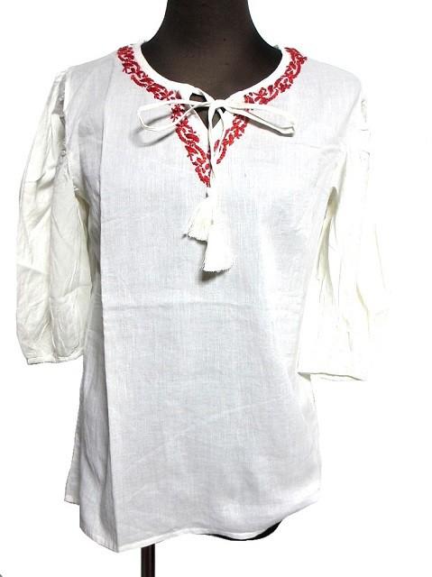 7分丈刺繍エスニックシャツブラウスエスニック衣...