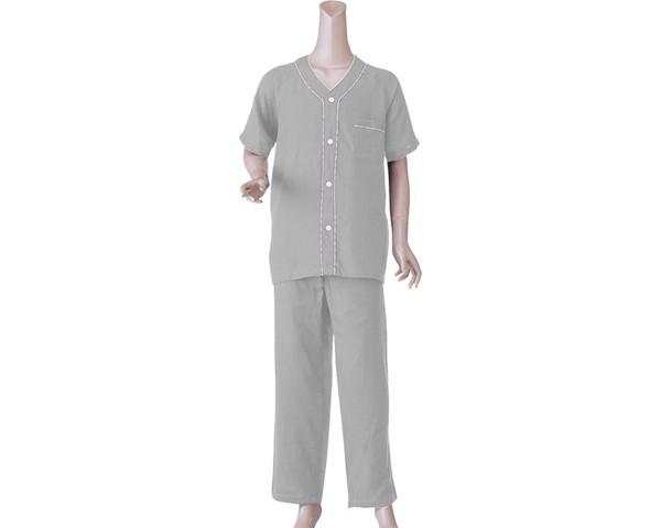 パジャマ 前開き 半袖 紳士楽らくガーゼパジャマ...