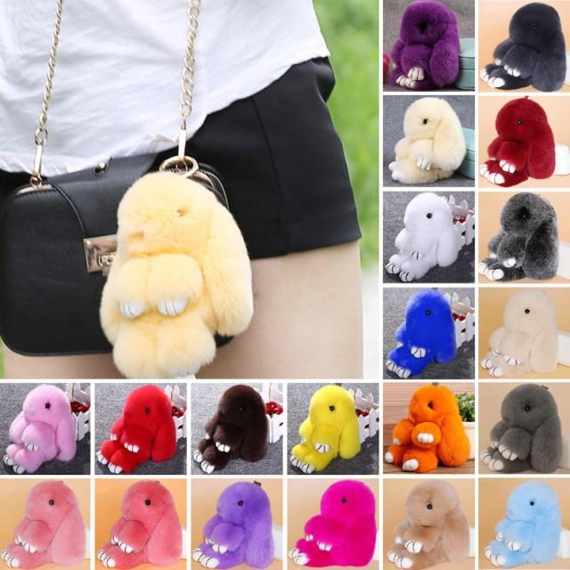 Bunny Rex Rabbit Fur14cm  Keychain Ring バニー...
