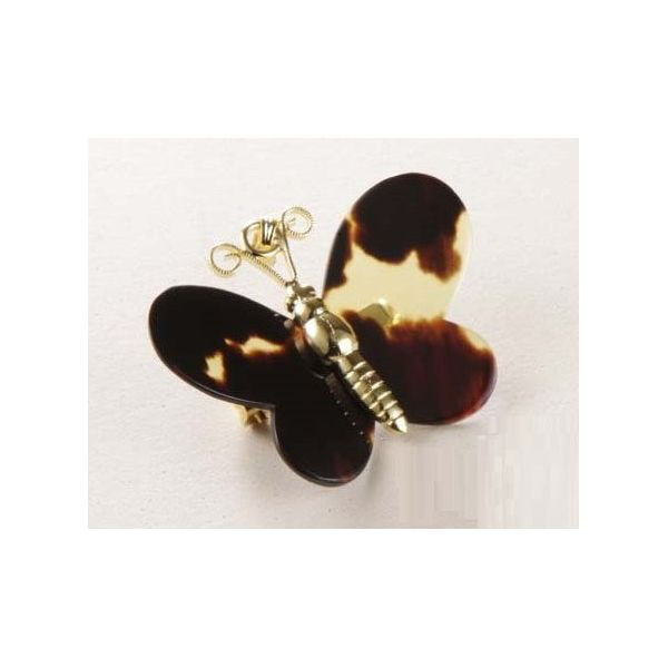 べっ甲のモダンなブローチ 蝶 日本製 軽量
