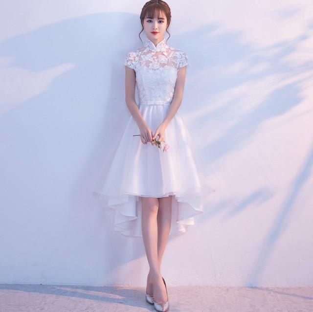 袖あり 立ち襟 前短後長い 素敵 ミモレドレス 上...
