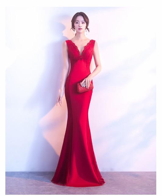 Vネック★マーメイドライン   ナイトドレス  ...