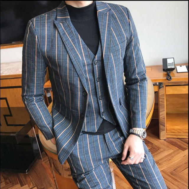 メンズ スーツセット 3点セット アップ 紳士服 ...