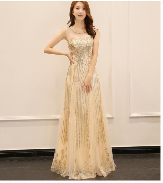 ゴールド ロングドレス ラメ ブライズメイドドレ...