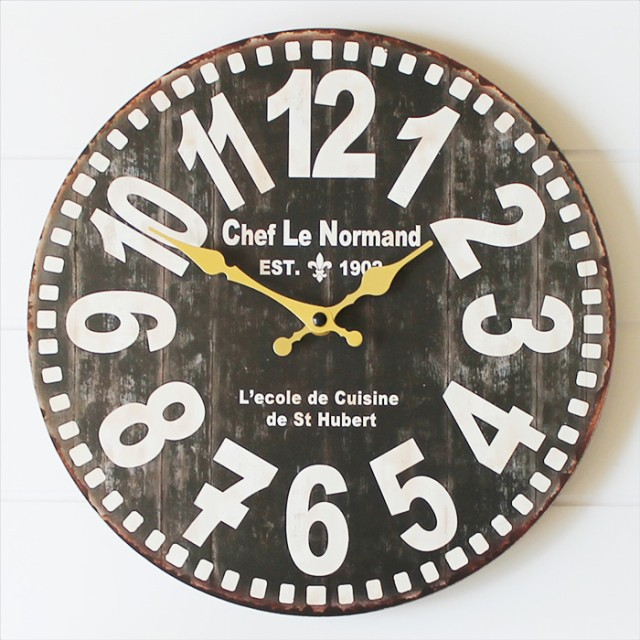 OLD LOOK 壁掛け時計 ブラック 木製 掛け時計 ウ...