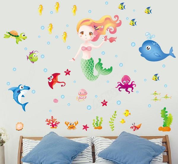 ウォールステッカー 海底世界 人魚 壁シール 可愛...
