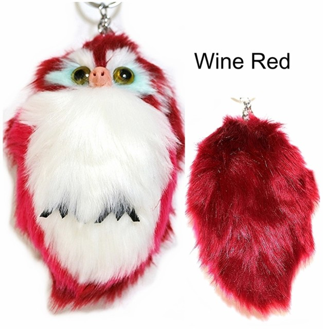 Soft Cute Keyrings Owl Pendant fake  Fur Pompo...