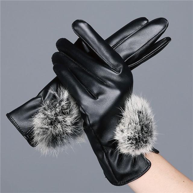 レディース 手袋 スマホ手袋 ポンポン付き 暖かい...
