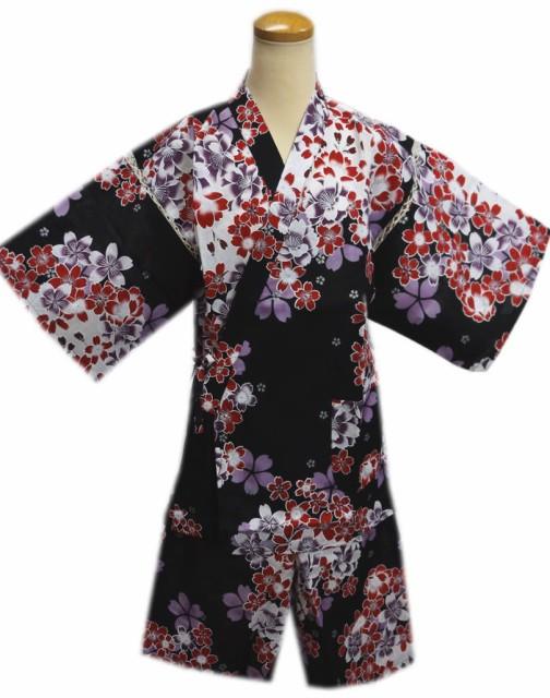 女性用レディース甚平じんべい黒色地赤紫桜フリー...