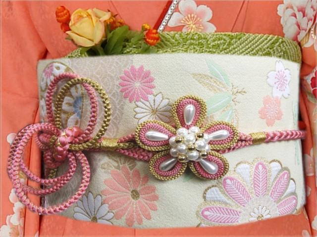 2色使いパール花結び先割れ正絹帯締め帯〆ピンク...