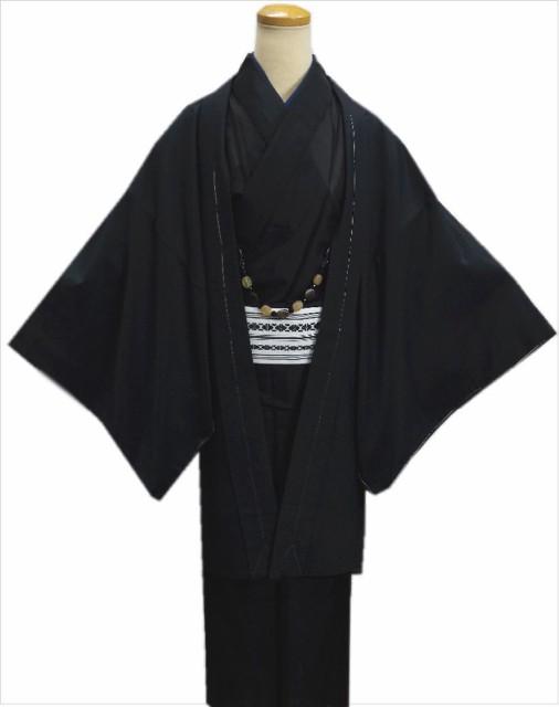粋なメンズ男物男性羽織単品黒色M・L・LL 和...