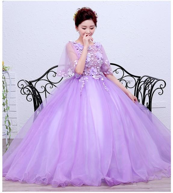 激安 カラードレス ロングドレス 紫 チュールスカ...