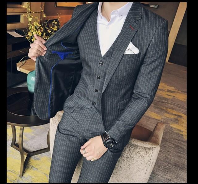 花婿の介添えフォーマルスーツ3ピーススーツ 紳士...