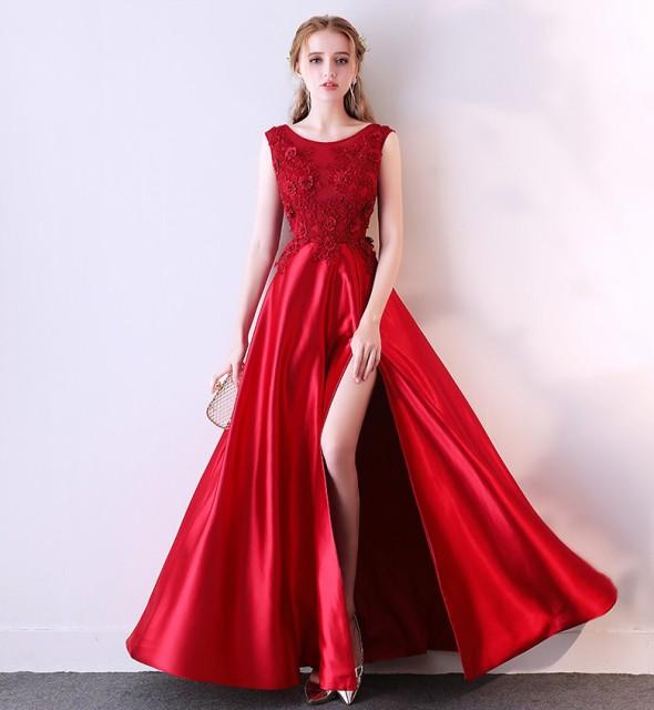 スリット 優雅 ロングドレス ウェデイングドレス...