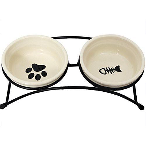 フードボウル 犬猫用 陶器のダブルペット取り外し...