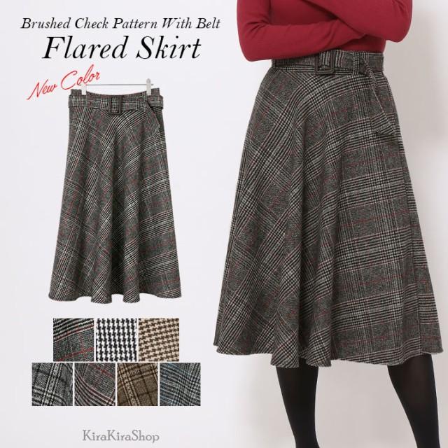 冬新作 スカート ベルト付き起毛チェック柄フレア...