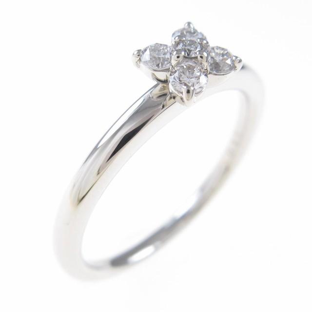 【中古品】PT フラワー ダイヤモンドリング