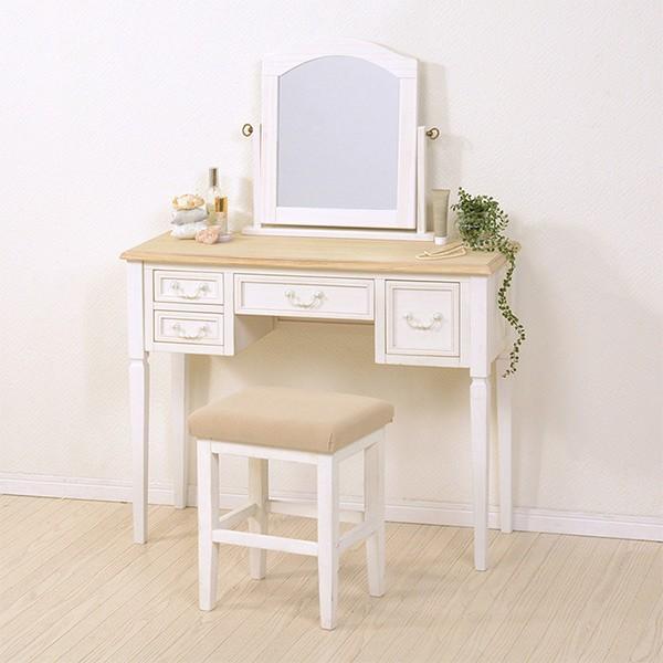 ドレッサーセット アンティーク調 BROCANTE ホワイトウッド 幅92cm ( 送料無料 ドレッサー 鏡台 化粧台 白家具 姫系 スツール 椅子 ミラ