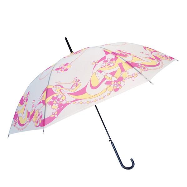 ビニール傘 約58cm マーブルコスメ柄 ピンク ジャンプ傘 ( 雨傘 長傘 アンブレラ レディース エレガント かわいい 通勤 通学 ワンタッチ