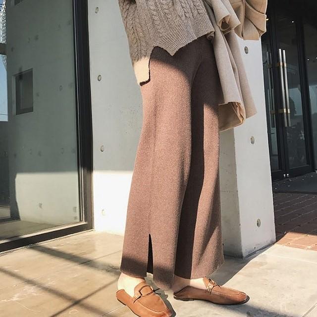 ロング丈 ニット ワイドパンツ レディース 大きいサイズ スリット ガウチョパンツ ルーズ おしゃれ 秋 冬