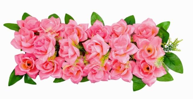 造花 パネル型 バラ 花18個 2個セット (ピンク)