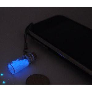 ストラップ ペア ガラスの小瓶 暗い所でブルーに...
