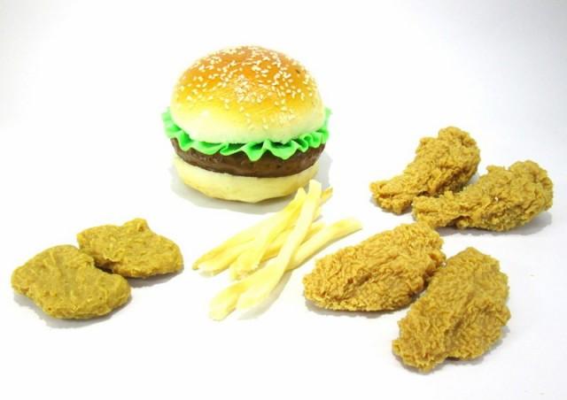 食品サンプル ハンバーガー チキン フライドポテ...