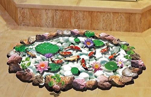 ウォールステッカー 日本庭園 鯉の泳ぐ池 3D風 2...