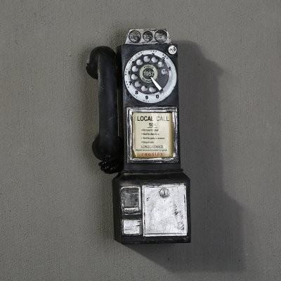 壁掛けオブジェ ビンテージ風 外国の公衆電話 ロ...