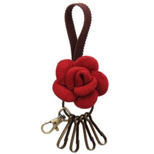 キーホルダー フック シンプルな薔薇 持ち手付き ...