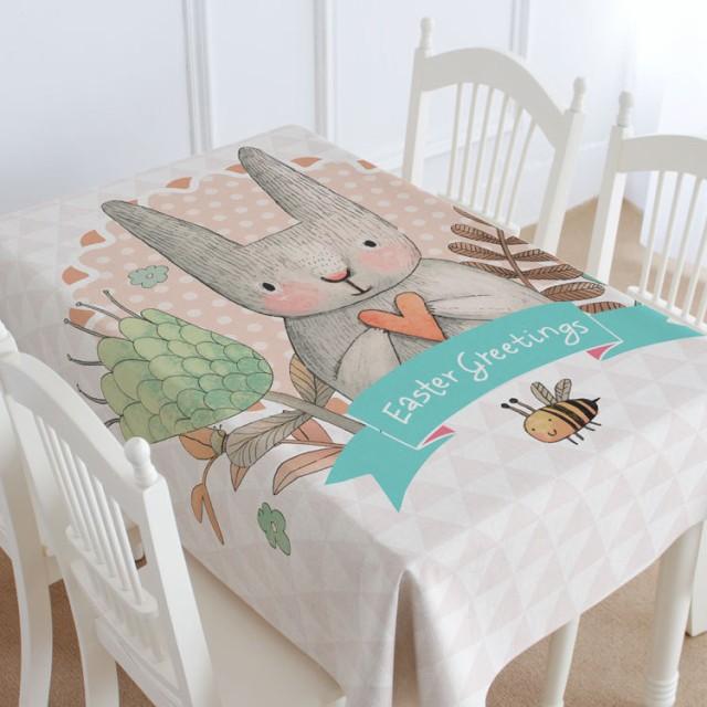 テーブルクロス かわいいウサギ ハート カントリ...
