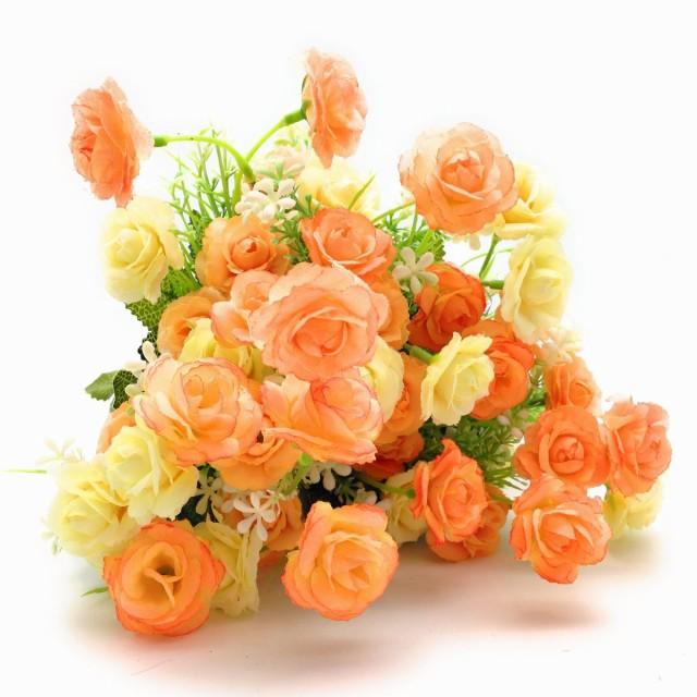 造花 バラ ミニサイズ 3束セット (オレンジ系)