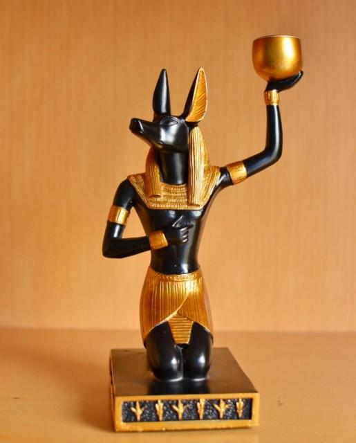 置物 古代エジプト 瓶を持つアヌビス モチーフ (...