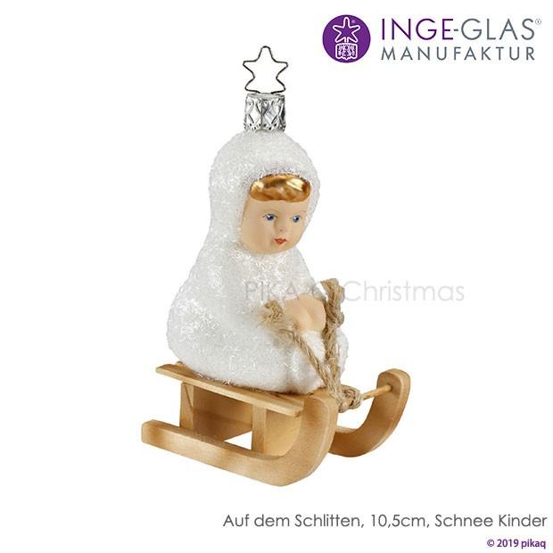 【35B】クリスマスツリー オーナメント ドイツ INGE-GLAS(インゲ・グラス)の2019年雪のこどもたちライン ソリに乗
