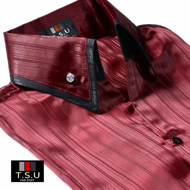 ドレスシャツシャドーストライプサテン光沢長袖2...