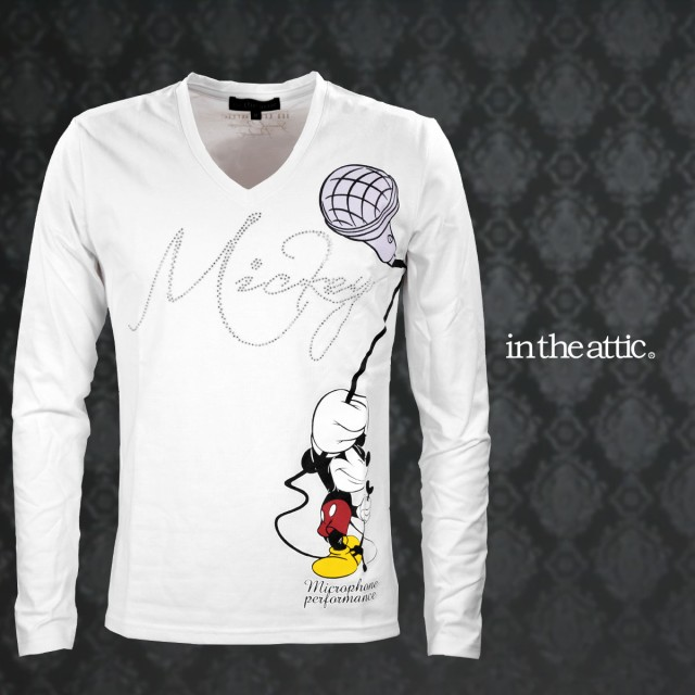 Tシャツ ミッキーマウス マイク ラインストーン ...