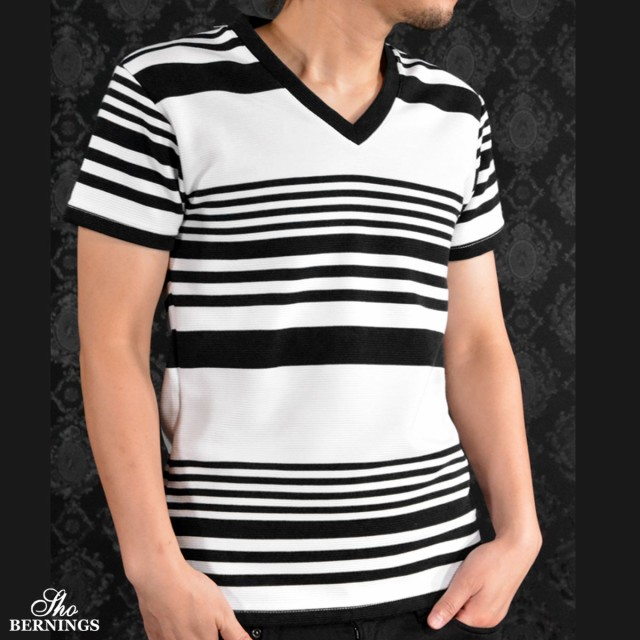 Tシャツ Vネック ランダムボーダー 半袖Tシャツ ...