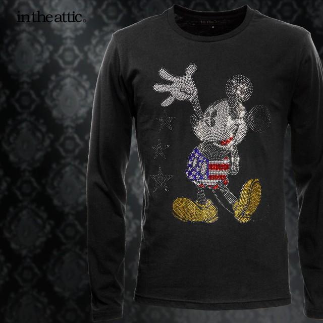 Disney ディズニー Tシャツ 長袖 ミッキー 星条旗...