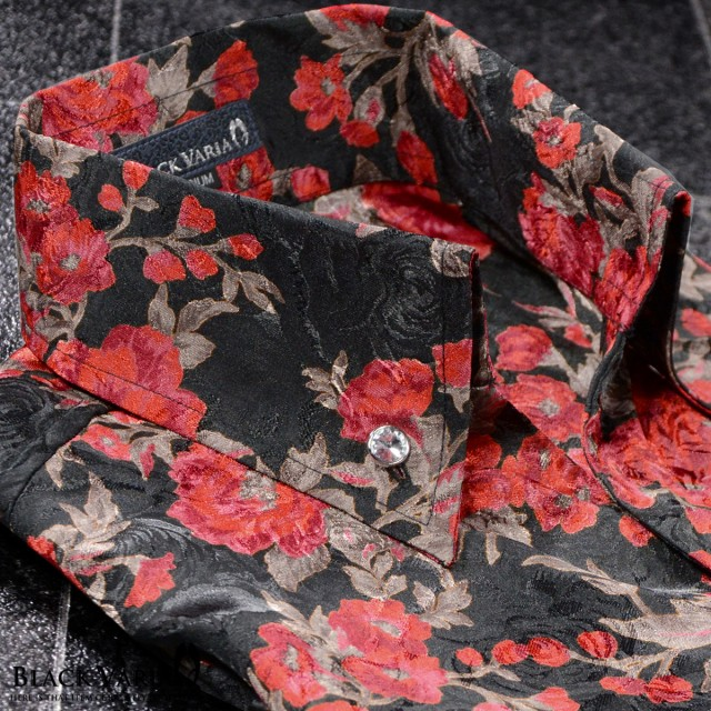 サテンシャツ ドレスシャツ 長袖 スキッパー 薔薇...