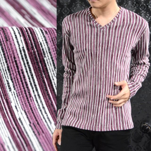 Tシャツ Vネック ストライプ メンズ マルチカラー...