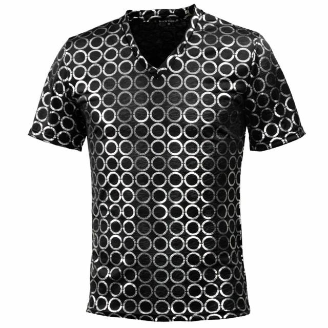Tシャツ 半袖 サークルドット リング柄 箔プリン...
