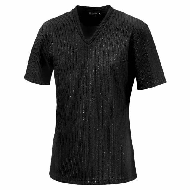 Tシャツ 半袖 ラメ ストライプ Vネック 立体 メン...