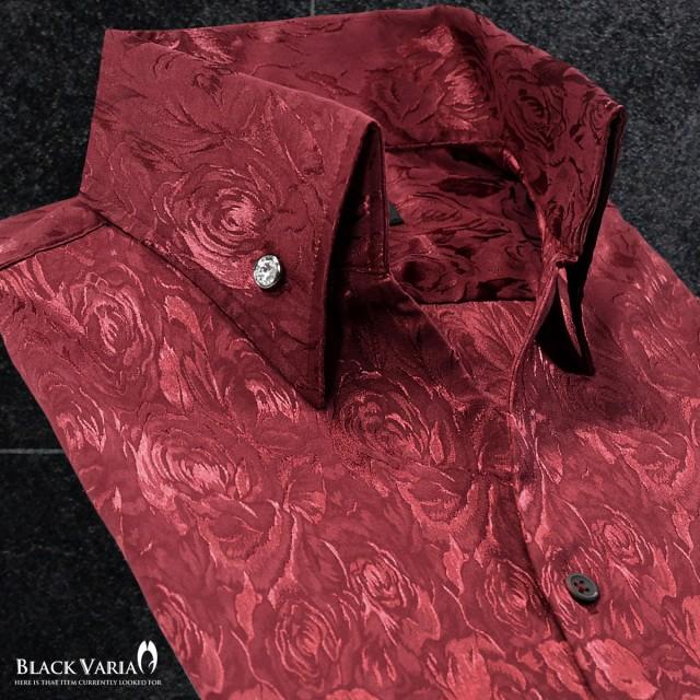 サテンシャツ ドレスシャツ スキッパー 花柄 薔薇...