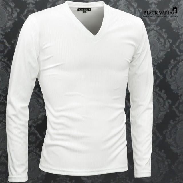 Tシャツ 長袖 Vネック シャドウストライプ メンズ...