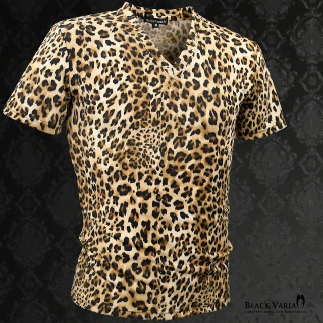 Tシャツ 半袖 Vネック ヒョウ 豹 メンズ レオパー...