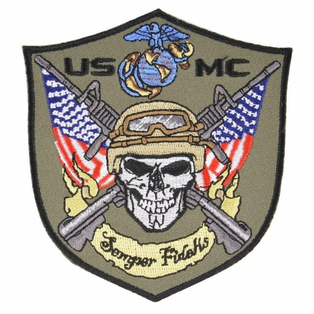 ミリタリーパッチ USMC スカル アメリカ海兵隊 ア...