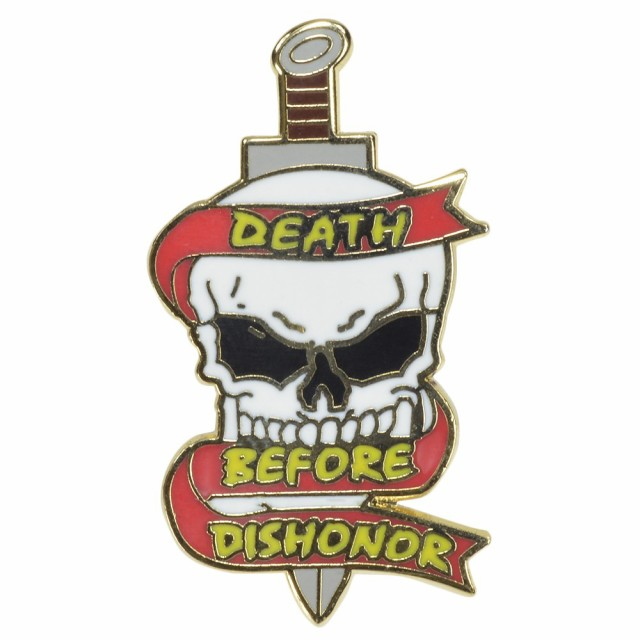 ピンバッジ スカル DEATH BEFORE DISHONOR[res417...