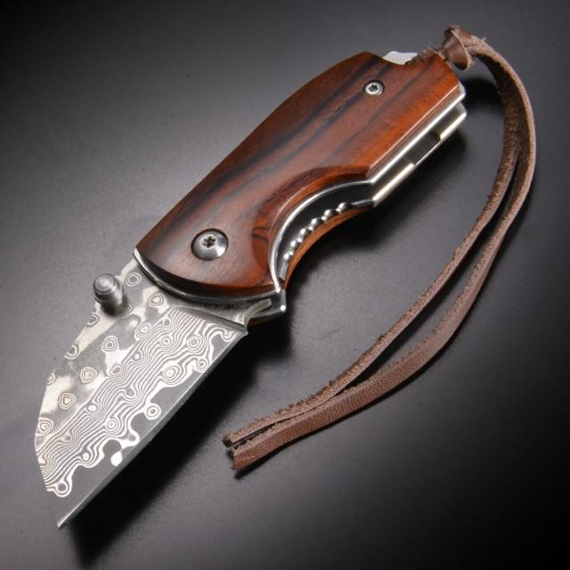 折りたたみナイフ ダマスカス鋼  ライナーロック...