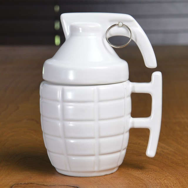 MK2 手榴弾型 マグカップ ふた付 [ ホワイト ][re...